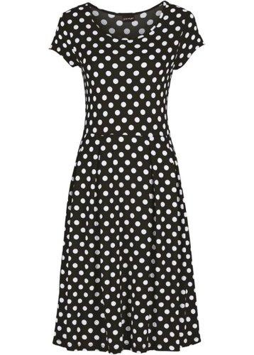 Трикотажное платье (клубничный/белый в горошек)