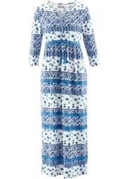 Трикотажное макси-платье дизайна Maite Kelly с рукавом 3/4 (белый/бордово-коричневый с узо) Bonprix