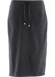Трикотажная юбка дизайна Maite Kelly (светло-серый меланж) Bonprix