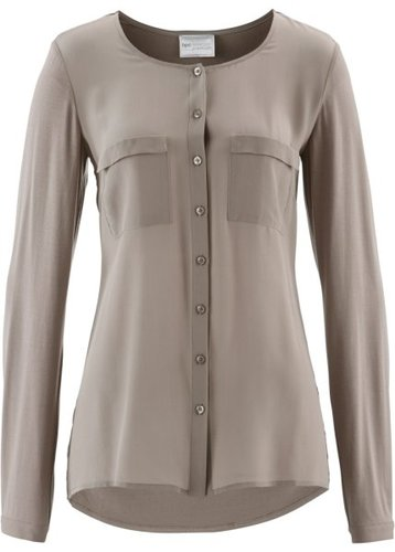 Блузка в смеси материалов ПРЕМИУМ (цвет белой шерсти)