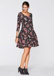 Трикотажное платье с рукавом 3/4 (черный/бордовый в цветочек) Bonprix