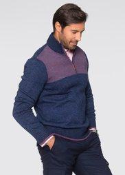 Пуловер Regular Fit с высоким воротом на молнии (темно-синий меланж) Bonprix