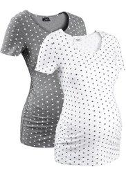 Мода для беременных: футболка с коротким рукавом (2 шт.) (белый в горошек/темно-синий в ) Bonprix