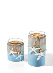 Подсвечник Морская звезда (2 шт.) (синий/песочный) Bonprix