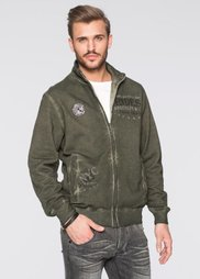 Трикотажная куртка Slim Fit (темно-оливковый) Bonprix