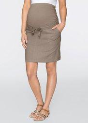 Мода для беременных: льняная юбка (серо-коричневый) Bonprix