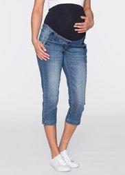 Мода для беременных: джинсы-стретч 3/4 (синий «потертый») Bonprix