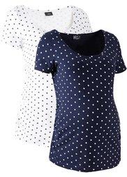 Мода для беременных: футболка с коротким рукавом (2 шт.) (серый меланж/белый в горошек) Bonprix