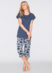 Пижама-капри из биохлопка (индиго с рисунком) Bonprix