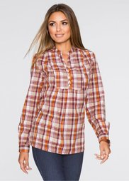 Блузка (оранжевый/белый/бежевый в клет) Bonprix