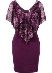 Платье с воланом (леопардовый/черный) Bonprix
