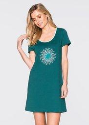 Ночная рубашка из биохлопка (сине-зеленый с рисунком) Bonprix