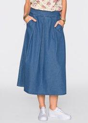 Джинсовая юбка-миди (синий) Bonprix