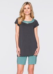 Пижама с длинными шортами (пастельная мята/шиферно-серый) Bonprix