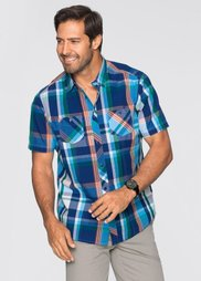 Рубашка Regular Fit с коротким рукавом (синий в клетку) Bonprix