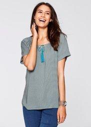 Блузка с коротким рукавом (минерально-синий с рисунком) Bonprix
