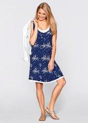 Трикотажное платье с принтом (ночная синь/цвет белой шерсти ) Bonprix