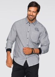 Рубашка Regular Fit с длинным рукавом (черный/белый меланж) Bonprix