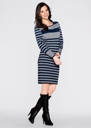 Вязаное платье (серый меланж/темно-синий в пол) Bonprix