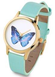 Часы на узком ремешке (белый с колибри) Bonprix