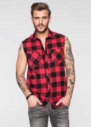 Рубашка Regular Fit без рукавов (красный/черный в клетку) Bonprix