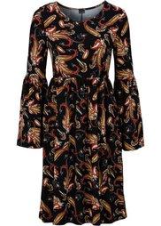 Трикотажное платье с принтом пейсли (бежевый с узором пейсли) Bonprix
