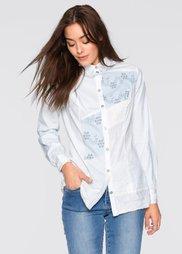 Блузка в стиле пэчворк (белый) Bonprix