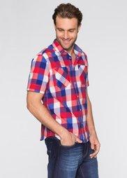 Рубашка Regular Fit с коротким рукавом (голубой в клетку) Bonprix