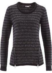 Пуловер с молниями (серый меланж) Bonprix