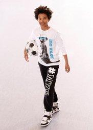 Футболка с длинным рукавом и стильным принтом, Размеры  116/122-164/170 (белый) Bonprix