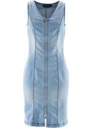 Джинсовое платье на молнии (синий «потертый») Bonprix