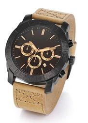 Мужские часы-хронограф на кожаном браслете (коричневый) Bonprix