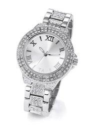 Часы на металлическом браслете с множеством стразов (серебристый) Bonprix