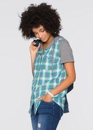 Клетчатая блузка с коротким рукавом (в клетку) Bonprix