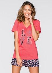 Пижама (нежный ярко-розовый/темно-сини) Bonprix
