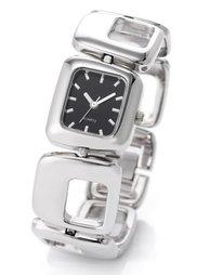 Часы на металлическом браслете (белый/серебристый) Bonprix