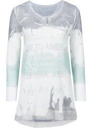 Вязаная футболка (светло-серый меланж/сиреневый/) Bonprix