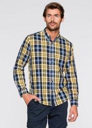 Клетчатая рубашка Regular Fit с длинным рукавом (желтый/синий в клетку) Bonprix