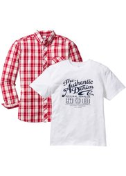 Рубашка + футболка Regular Fit (2 изд.) (индиго в клетку + темно-синий) Bonprix