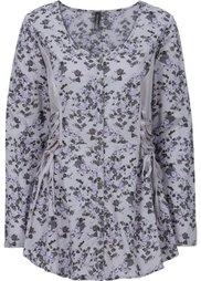 Трикотажная блузка с лентами для завязывания (кремовый/новый бежевый с рисун) Bonprix