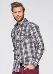 Рубашка Slim Fit с длинным рукавом (серый в клетку) Bonprix