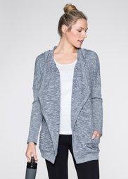 Трикотажная куртка в вязаном дизайне (серый меланж) Bonprix