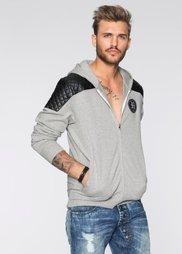 Трикотажная куртка Slim Fit в байкерском стиле (светло-серый меланж) Bonprix