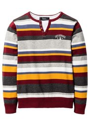 Пуловер (светло-серый меланж/темно-сини) Bonprix