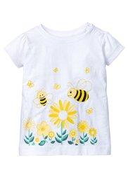 Мода для малышей: футболка + джинсовый полукомбинезон (2 изд.), Размеры  56-110 (белый/нежно-голубой выбеленный) Bonprix
