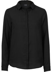 Шифоновая блузка (черный/цвет белой шерсти с рис) Bonprix