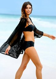 Пляжное кимоно с кружевной вставкой (черный) Bonprix