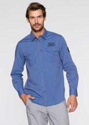 Рубашка Regular Fit с длинным рукавом (генцианово-синий в полоску) Bonprix