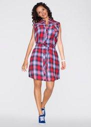 Платье-рубашка (красный/синий в клетку) Bonprix