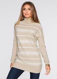Пуловер (светло-коричневый/белый в поло) Bonprix